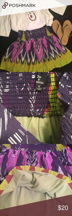 💜Hot & Delicious💚Purple Green Tribal Mini skirt Hot & Delicious Size M Purple White Lavender Green Orange Aztec design Elastic back and sides Smooth front Pleated Pockets on each side Fully lined Waist is 13in unstretched Waist stretches up to 18in Length is 16in top waist to hem Hot & Delicious Skirts Mini