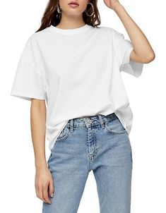 TOPSHOP Women's TALL Weekend T-Shirt - White - Size S White Tshirt Outfit, Topshop Tall, Rose Clothing, Korea Fashion, Look Cool, Casual Outfits, T Shirts For Women, Long Live, Fit Women