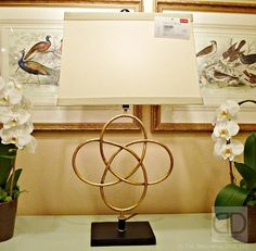 Celtic Love Knot table lamp from the Lisa Kahn Collection designed by Naples-based interior designer Lisa Kahn-Allen. Spotted at the Chelsea House showroom.  Gold Love Knot Table Lamp Lisa Kahn Chelsea House  | The Decorating Diva, LLC  #HPMKT