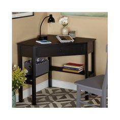Black Computer Desk Home Office Workstation Student Dorm Study Corner Furniture #SimpleLiving #Contemporary