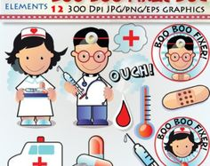 Medical Doctors , band aid , nurse , hospital clipart-theromometer - sick -kids hospital clipart  -Digital PNG clipart