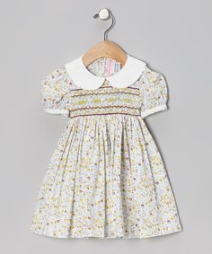Take a look at this Emily Lacey Yellow Floral Smocked Dress - Infant, Toddler & Girls on zulily today!