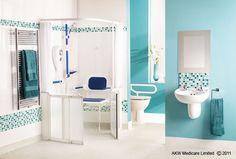 Walk in shower with seat design for elderly Bathroom Seat, Bathroom Shower Doors, Bathroom Kids, Shower Set, Shower Floor, Disabled Wet Room, Walk In Shower Designs, Elderly Home, Wet Rooms