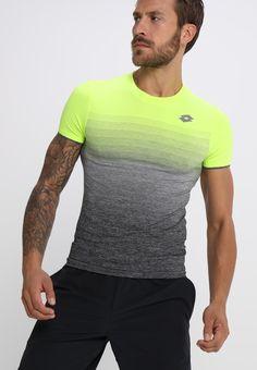 Lotto COURT II TEE - T-Shirt print - yellow neon black melange - 584fdad319