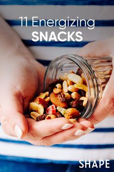 Stash these energy-boosting snacks in your desk drawer or cupboards and you'll never get hangry during the day again. #energy #snacks