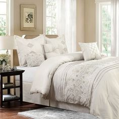 Shop for Bedding Set-Registry Collection 7 Piece Comforter Set, Full/Queen. Get free delivery On EVERYTHING* Overstock - Your Online Fashion Bedding Store! Get in rewards with Club O! Luxury Comforter Sets Queen, Elegant Comforter Sets, Best Bedding Sets, Luxury Bedding, King Comforter, Console, Ruffle Bedding, Gray Bedding, Rustic Bedding