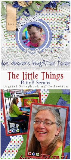 Tan, red, white and blue colors make up this fun digital scrapbooking collection.  It is especially good for scrapping photos of the kids.  It is also a bit nostalgic, so vintage photos will work well too.