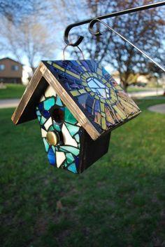 Custom STAINED GLASS MOSAIC Birdhouse