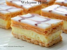 Classic French Napoleons Recipe Desserts with whole milk sugar vanilla extract salt large egg yolks corn starch butter puff pastry confectioners sugar light corn syrup bu. Napoleon Pastry, Napoleon Torte, Napoleon Dessert, British Desserts, French Desserts, Just Desserts, French Sweets, Gourmet Desserts, French Recipes