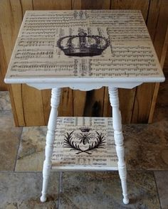 Could do this to any table with a little paint and paper you liked.  It's just decoupage.