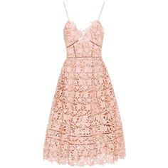 Self-Portrait Azaelea Lace Dress (5.227.545 IDR) ❤ liked on Polyvore featuring dresses, pink, pink cocktail dress, lacy dress, pink lace cocktail dress, pink dress and self portrait dress