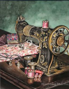 Sewing machine Singer Painting by Nathalie Martin - Le Mini Atelier de Nath Sewing Art, Love Sewing, Vintage Images, Vintage Art, Antique Sewing Machines, Decoupage Vintage, Inspiration Art, Art Original, Sewing Notions