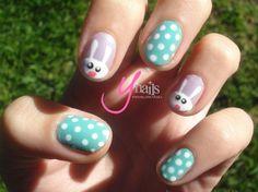 egg hunt - polkda dots, Easter nails Art, Easter Nail Design#2014 Easter nails#2014 Easter Bunny Nails