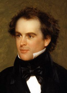 "Nathaniel Hawthorne  (1804-1864)   Iconic American author (The Scarlet Letter,""The Minister's Black Veil""), and shy friend to Transcendentalists Ralph Waldo Emerson and Henry David Thoreau, author Herman Melville, and president Franklin Pierce who Hawthorne met at Bowdoin College."
