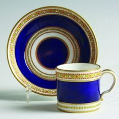 Tableware: A Small 'Jewelled' Sevres Cup & Saucer, 1780-82