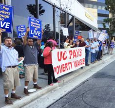 About 200 clerical workers, administrative, and support staff protest outside of the Welshire Center at UCLA on Aug. 24, 2016 over their wages. The UC System has approved a 1.5 percent in pay increase.