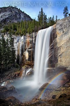 Vernal Falls in Yosemite, CA. If I ever get to take the great road trip I've planned, I'll spend at least a week wandering all over Yosemite. Arches Nationalpark, Yellowstone Nationalpark, Les Cascades, North Cascades, Oh The Places You'll Go, Places To Travel, Places To Visit, Beautiful Waterfalls, Beautiful Landscapes