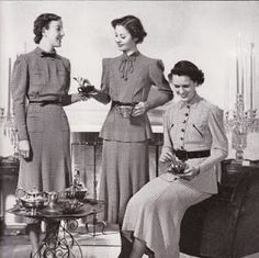 Vintage tea time photo circa 1940.