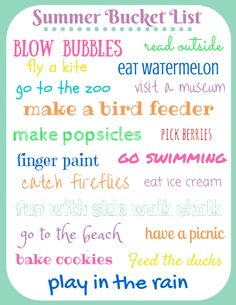 Summer Bucket List for Toddlers. Free Printable. How to customize summer bucket list for kids of any age.