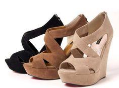 sandales compensés lanière beige marron et noir