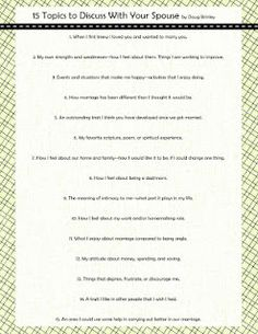 15 Things to Discuss with Your Spouse