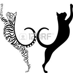 silhouette kat: gestreepte en zwarte kat silhouet