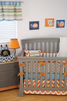 Owl nursery for baby boy with orange chevron, horizontal stripes and artwork by Judith Raye