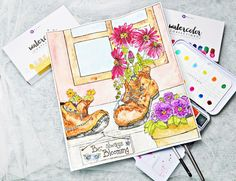 If you haven't tried a Watercolor Coloring Book yet, Sandi Pirrelli's Behind The Garden Gate Multimedia Book is the perfect place to start! You can create your own home décor while relaxing at the same time! Joanne Bain colored these so beautifully, wouldn't you agree?