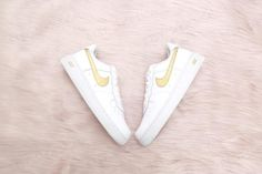 New Air Force One, Air Force Ones, Nike Air Force, Beige Nike Shoes, White Air Force 1, Painted Sneakers, Custom Air Force 1, Nike Gold, Shoe Company