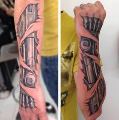 Biomechanical forearm by Mike Tarquino Tattoos Bras, Hand Tattoos, Forearm Tattoos, Body Art Tattoos, Tattoo Ink, Tattoo Flash, Cyborg Tattoo, Biomech Tattoo, Biomechanical Tattoo Design