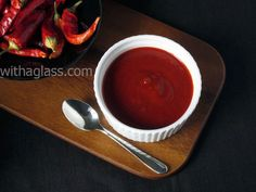 Red chile Sauce made w/ chile pequin and New Mexico red chile powder | withaglass.com