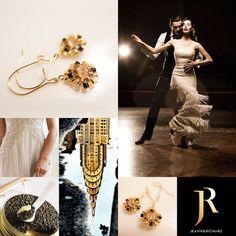 Beaded Dainty Gold Flower Earrings / Dangle by JeannieRichard