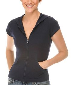 Look at this Kavio! Navy Short-Sleeve Zip-Up Hoodie on #zulily today!