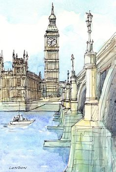Londres Westminster Bridge Thames tirage d'art d'une aquarelle originale