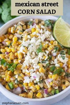 This Mexican Street Corn Salad is an easy way to get all the flavors of Mexican Street Corn in a one bowl recipe. Super quick to make on the stove top and great served alone or with chips. This Mexican Street corn salad is also perfect for potlucks, cookouts or gatherings. #mexicanstreetcorn #glutenfree #vegetarian Mexican Street Corn Salad, Mexican Street Food, Mexican Salads, Vegetarian Mexican, Mexican Food Recipes, Best Mexican Street Corn Recipe, Mexican Cooking, Vegetarian Lunch, Corn Salad Recipes
