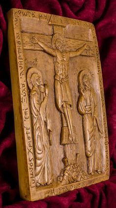Crucifixion of Jesus with the Virgin and Saint John Aromatic Christian Wall Icon Plaque made with pure beeswax mastic and incense Christian Friends, Christian Gifts, Crucifixion Of Jesus, Jesus Christ, Luke The Evangelist, Prayer Corner, Spiritual Gifts, Wall Plaques, Wood Carving