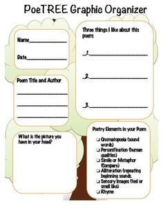 Analyze a poem with this Poetree Graphic organizer. Have students pick out the literary elements they recognize.