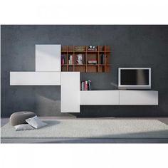 Meuble TV Design blanc mural Willem  Nombreuses solutions TV  www.idcuisine.be  #Living #Design #Brussels