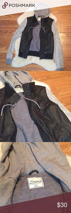Dravus faux leather and cloth jacket Dravus black and grey faux leather and cloth jacket, size s. Like new. Dravus Jackets & Coats Utility Jackets