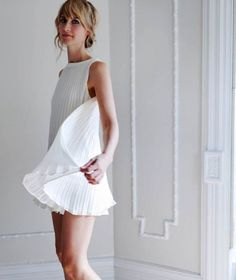 The Sunburst Pleated Shift Ivory Seafoam by alexandragrecco Top Mode, Little White Dresses, Cute Dresses, Pleated Dresses, Shift Dresses, Dress Me Up, Passion For Fashion, Dress To Impress, Street Style
