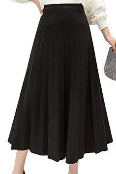 Faldas De Cóctel De Mujer Faldas Midi De Punto Plisadas De Línea A Sólida 45d9a1139821