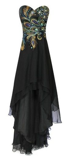 Love this! It's actually given me an idea (one day) to sew a simplified version in coloured sequins or beads on a plain black dress. Could be very effective. Peacock-Themed Formal Evening Wear for Halloween
