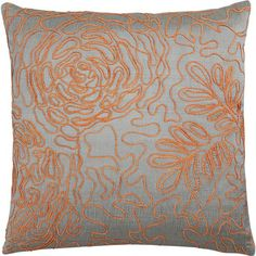 Posy Orange 18 Pillow in Decorative Pillows Home Design Decor, House Design, Orange Pillows, Pillow Sale, New Living Room, Happy Colors, Crate And Barrel, Living Room Designs, Crates