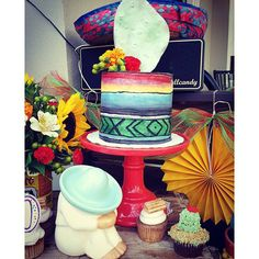 From Scratch Baked Goods- mexican serape cake with Sugar prickles pear cactus topper