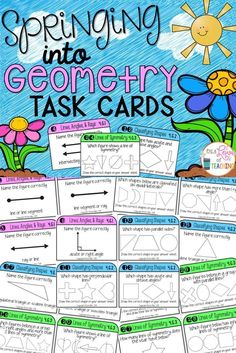 Springing into Geometry Task Cards for 4.G.1, 4.G.2, and 4.G.3.