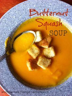 Low Fat Butternut Squash Soup Recipe! SO good!!! Its almost like the organic butternut squash soup at Atlanta Bread Company!!
