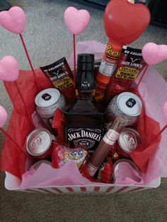 Valentines days for him. Jack and coke. Snacks candies and more · Naughty  ValentinesValentines DayDiy ...