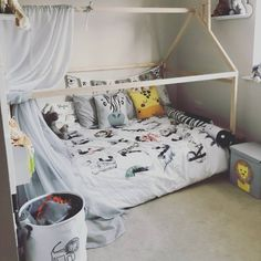 """""""Beautiful childroom with our house bed."""" Toddler Floor Bed, Toddler Bed Frame, Kids Bed Frames, House Frame Bed, House Beds, Pink Bedding, Nursery Bedding, Nursery Decor, Bed Without Slats"""