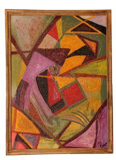 cuadro abstracto geomtrico con textura mixta y enmarcado