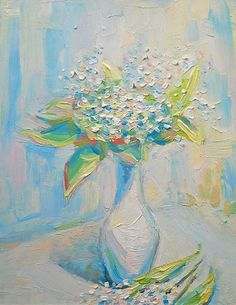 Lilies-of-the-valley Bouquet in Vase Original Oil by FrozenLife